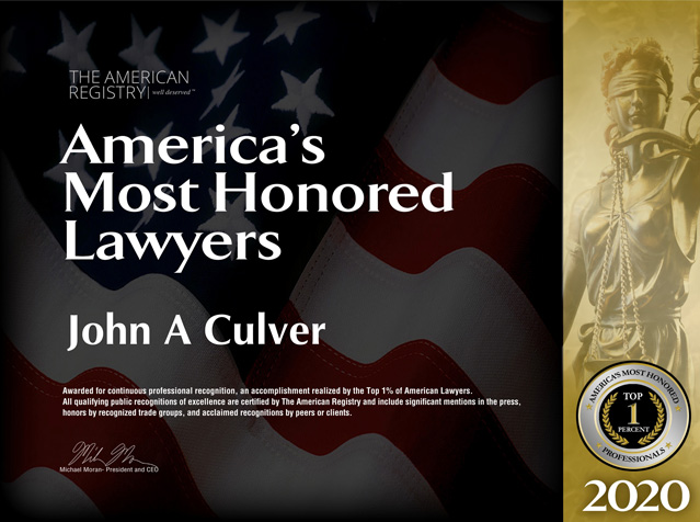 The American Registry: America's Most Honored Lawyers 2020: John A Culver